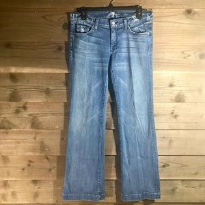 7FAM Dojo Medium Distressed Washed Jeans. Sz 29